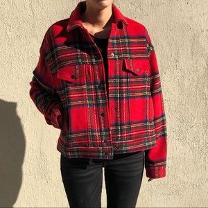 Bagatelle Plaid Wool Trucker Jacket